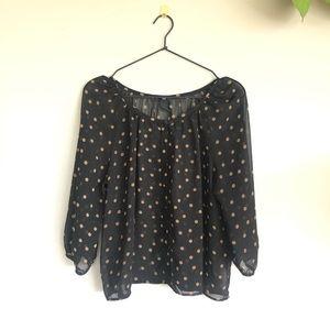 H&M sheer polka dot blouse